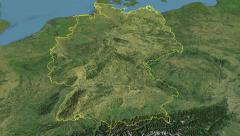 Glide over the satellite map of Germany outlined Stock Footage