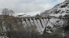 Craig Goch Dam overflowing, Elan Valley, Wales Stock Footage