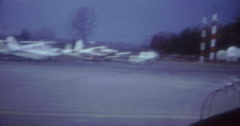 Plane Privat Landing Airport 60s 70s 16mm USA Stock Footage