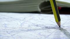 Details on a map with pencil indication Stock Footage