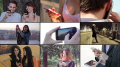 People using smartphone, sending messages and using touchscreen Stock Footage