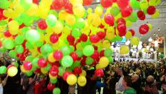 Falling balloons. Opening a store in a shopping center Stock Footage
