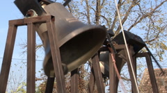 Ringing of three church bells Stock Footage