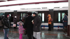 Monorail station in Moscow city with people getting in train cars. Moscow, Rus Stock Footage