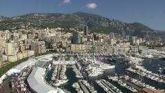 Panoramic view of Monaco, with view of the harbour  Stock Footage