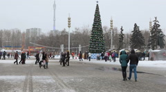 VSnowy square is near Central Pavilion of VDHKh area in Moscow, Russia Stock Footage