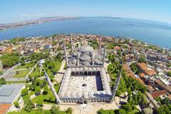 Sultanahmet Camii most famous as Blue Mosque in Istanbul, Turkey, Aerial Stock Photos