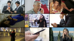 Multiscreen composition of people using smart phones Stock Footage