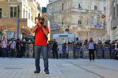 ISTANBUL - JUN 17: Five labor unions call 1-day nationwide strike over crackd - stock photo