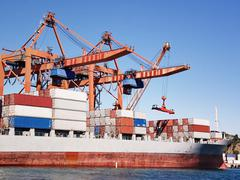 Cargo container ship under cranes in sea port Kuvituskuvat