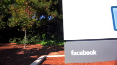 Establishing shot of Facebook Headquarters in silicon valley, california. Stock Footage