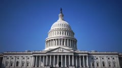 US Capitol Building, wide shot with clear blue sky for keying Stock Footage