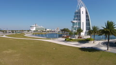 Stock Video Footage of Exploration Tower Port Canaveral Florida 02-15-2015