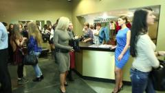 Wardrobe in the movie theater. Reception and meeting room. Stock Footage