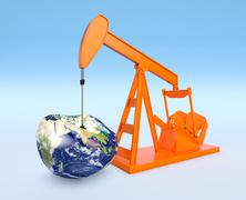 shortage of oil resources - Elements of this image furnished by NASA - stock illustration