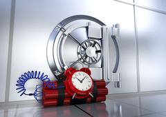 safety of bank vault - stock illustration