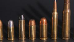 Ammunition, Different caliber display (Pan shot) Stock Footage