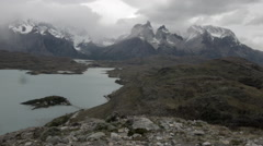 Aerial view of Paine Massif and Lago Pehoe with pan right Stock Footage
