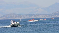 CORFU - AUGUST: Fast boat sails at regata sport race circa August, 2014 Corfu Stock Footage