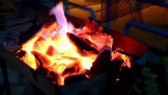 Barbecue coal fire preparation Stock Footage