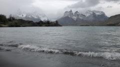 Lago Pehoe and crashing waves Stock Footage