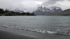 Time Lapse of crashing waves at Lago Pehoe Stock Footage