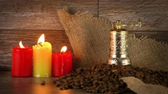 Roast Coffee in Candle Light Stock Footage