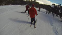 People Skiing on a Trail Stock Footage
