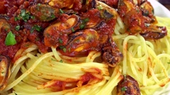 Pasta with Mussels (not loopable) Stock Footage