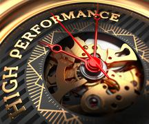 High Performance on Black-Golden Watch Face Stock Illustration