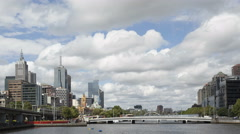 4K Time lapse close up Melbourne Yarra River downtown - stock footage