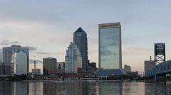 Time lapse close up sunset Skyline Jacksonville Florida Stock Footage