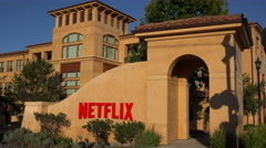 Establishing shot of Netflix Headquarters in silicon valley, california. Stock Footage