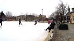 Ice skating on an ice rink in Copenhagen Stock Footage