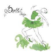 Ballet Dancer, drawing in watercolor style Stock Illustration