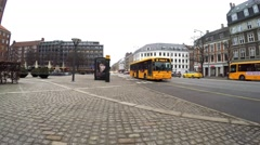 Bus stop in city area Frederiksberg in Copenhagen Stock Footage