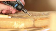 Close up of carpenter carving wood Stock Footage