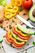Avocado sandwich - stock photo