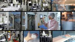 Production in sugar refinery, montage Stock Footage