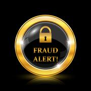 Stock Illustration of Fraud alert icon. Internet button on black background. EPS10 vector.