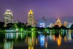 Night cityscape, office buildings and apartments Stock Photos