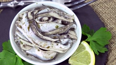 Pickled Anchovies (not loopable) Stock Footage