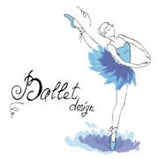 Ballet Dancer, drawing in watercolor style - stock illustration