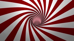Hypnotic spiral – swirl, red and white background in 3D - stock footage