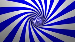 Hypnotic spiral – swirl, blue and white background in 3D Stock Footage