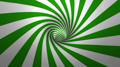 Hypnotic spiral – swirl,  green and white background in 3D Stock Footage