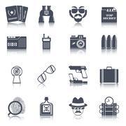Spy gadgets black icons set Piirros