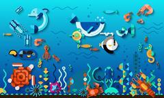 Underwater World Concept Stock Illustration