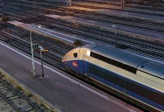 High-speed train TGV In Nice at night, France Kuvituskuvat