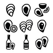 Oysters shell, sauce - sea food icons set - stock illustration